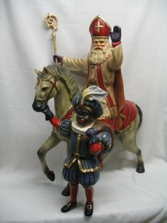 Sinterklaas the Dutch Santa Claus. My Oma and Opa used to tell us about him. Christmas In Holland, Babylon The Great, Santa Gifts, Father Christmas, Vintage Santas, Miniature Dolls, Winter Holidays, Wood Carving, Light In The Dark