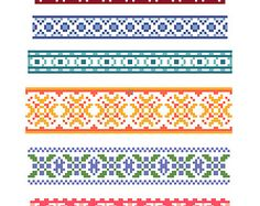 Collection of Six Original Decorative Cross Stitch Borders - Instant Download PDF Pattern