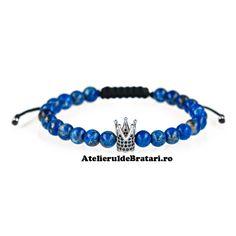 Bratara macrame cu pietre semipretioase lapis lazuli cu coronita Lapis Lazuli, Beaded Bracelets, Jewelry, Corona, Jewlery, Jewerly, Pearl Bracelets, Schmuck, Jewels