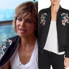 Lisa Rinna's Black Floral Embroidered Bomber Jacket http://www.bigblondehair.com/real-housewives/lisa-rinnas-black-floral-embroidered-bomber-jacket/ Real Housewives of Beverly Hills Fashion