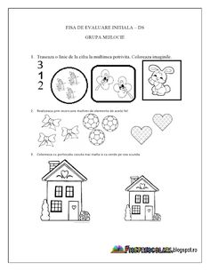 Fise de lucru - gradinita Kindergarten Sorting Activities, Coloring Worksheets For Kindergarten, Preschool Number Worksheets, Kids Math Worksheets, Numbers Preschool, Learning Numbers, Preschool Printables, Numbers For Kids, Homeschool Math