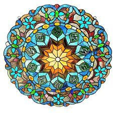 Tiffany-Style Annalise Rainbow Star Stained Glass Round Window Panel - BEAUTIFUL