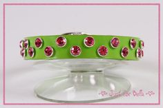 "Spring Green Leather Dog Collar with Rose Swarovski crystals -- Size Medium (neck size 10.5"" - 11.5"").  See more details on Etsy.  $65"