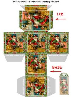 SANTAS VISIT gift box Christmas tree decoration on Craftsuprint designed by Clive Couter - vintage image for gift box with matching gift tag and/or christmas tree decoration - suggest use reasonably thick card eg 190gsm (with thanks to panosfx)SEE MANY OTHER BOXES IN THE SERIES BY TYPING Clives boxes IN THE KEYWORD SEARCH BOX AT TOP OF PAGENow updated with punch hole marks for tie lid - Now available for download!