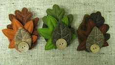 Felt and tweed leaves with a simple button - lovely autumn brooches