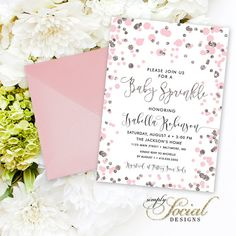 Pink Confetti Baby Shower Sprinkle Invitation - Blush and Silver Glitter It's a Girl Calligraphy Baby Shower Baby Sprinkle PRINTABLE