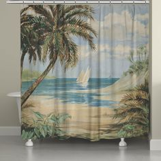 This tropical beachscape painted in muted coastal hues will transform your bathroom into an oasis. All of our products are digitally printed to create crisp, vibrant colors and images. Made to order i