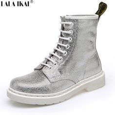 c626e64bef5c Aliexpress.com   Buy LALA IKAI Genuine Leather women martin boots sliver  bling crack Lace up Platform Shoes white flats boots for ladies XWN1121  from ...