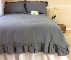 New to CustomLinensHandmade on Etsy: Industrial rustic Ruffle linen duvet cover features easy flow ruffles shabby chic bedding linen bedding custom bedding (257.00 USD)
