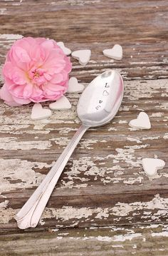 Love spoon with heart hand stamped silverware