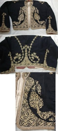 Embroidered women's 'cepken' (long-sleeved vest) from the Balıkesir province.  Part of a festive costume, early 20th century.  'Golden' metal thread on wool; embroidery technique: 'kordon tutturma' (applied cord).  (Source: Tekin Uludoğan, Balıkesir).