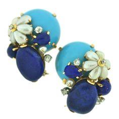 SEAMAN SCHEPPS Pair of Turquoise, Lapis, Pearl & Diamond  Clips