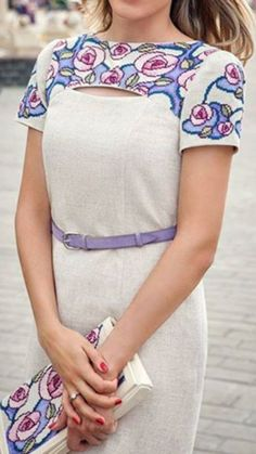 Embroidery dress and bag Dress Neck Designs, Blouse Designs, Girly Outfits, Modern Outfits, Modest Fashion, Fashion Outfits, Salwar Designs, Dress Hairstyles, Western Dresses