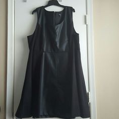 Torrid A-line, faux leather panel Skater Dress Torrid A-line, faux leather panel (down the middle), Sleeveless Skater Dress, Sz 28, Worn once torrid Dresses Midi