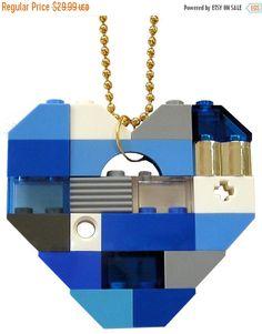 ON SALE Playful Blue necklace  Chunky heart by MademoiselleAlma #MademoiselleAlma #LEGO #ETSY