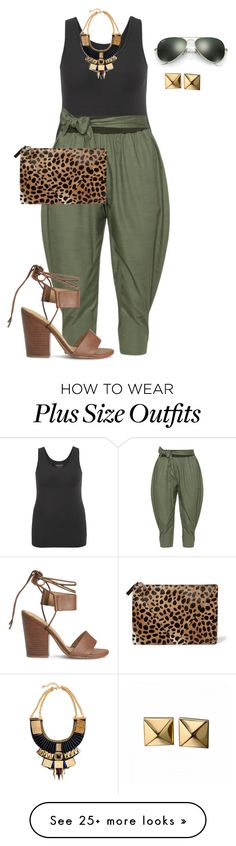 """plus size safari chic"" by kristie-payne on Polyvore featuring maurices, Isolde Roth, Splendid, Clare V., Waterford and Ray-Ban"