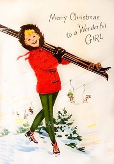 Smiling Girl Carrying Skis Chair Lift Snow 1940s Vintage Christmas Greeting Card