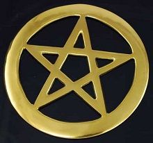 Brass Pentagram Disk. Since this Pentagram is made out of Brass, it is considered a Solar Metal and associated with being Masculine. Other Pentagram made out of Stone or Copper, the Pentagram is Feminine and correspondence with the Element of Earth. The metal pentagrams are coated with a clear coat to keep the pentagrams from corroding. Each of the five points of the Pentagram represents the Four Elements and the Spirit.