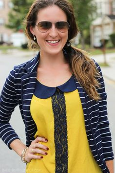 Navy Stripes Mustard Lace (8 of 9)