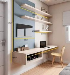 Home Office Space, Home Office Desks, Apartment Office, Desk Space, Bedroom Tv Wall, Tv Wall Design, Home Office Organization, Organization Ideas, Storage Ideas