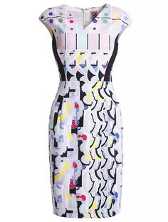 White V Neck Cap Sleeve Geometric Print Dress