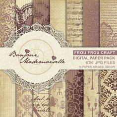 Vintage Digital Paper Pack Instant Download door froufroucraft