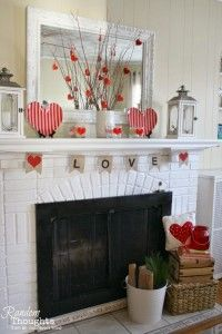 Simple Love Mantel by Random Thoughts. 25 Best Valentine's Day home decor ideas via A Blissful Nest.