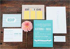 indie wedding invite designed by Bash Please