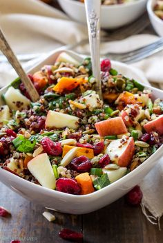Harvest Quinoa Salad | This gluten-free, vegan quinoa salad is full of fall flavor and perfect for Thanksgiving! (scheduled via http://www.tailwindapp.com?utm_source=pinterest&utm_medium=twpin&utm_content=post106639303&utm_campaign=scheduler_attribution)