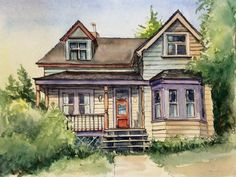 House on Second Street. Watercolour and ink Watercolor And Ink, Buildings, Cabin, Paintings, Street, House Styles, Artist, Decor, Sketches
