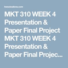 Mkt  Week  Market Research Implementation Plan Final Paper And
