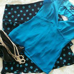 "SALE Polka Dot Black and Blue Ruffled Skirt Adorable Rabbit Rabbit Rabbit Designs Polka Dot Black and Blue Ruffled Skirt 100% Polyester Fully Lined 21"" from top of the skirt to bottom 30"" waist Rabbit Designs  Skirts"