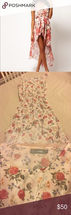 LF Love Hi-low floral dress Sheer floral dress from LF. Beautiful and flowy...has a small pull at side zipper which cannot be seen when worn. LF  Dresses High Low