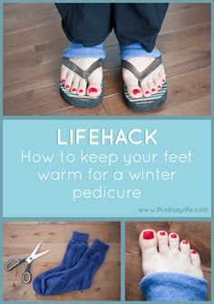Life hack: Pedicure socks! Warm feet and pretty toes!