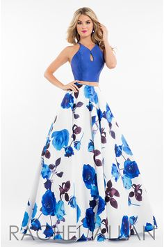 7583 - Two-piece mikado ballgown with floral print and solid crop top