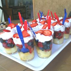 Shortcake fruit cups with Cool Whip on top! Great and easy summer dessert!