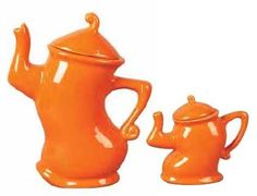 Orange ceramic dancing teapots
