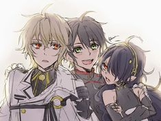 """Yuu and besties! Asuramaru looks like """"oh geez why the vampire guy need to be here as well?"""" meanwhile Mika looks like """"oh my god calm down calm down"""" and Yuu just be like """"YOU TWO ARE THE BEST! Fanarts Anime, Anime Characters, Mika Hyakuya, Anime Friendship, Seraph Of The End, Stray Dogs Anime, Owari No Seraph, Ecchi, Vampire Knight"""