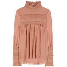 See By Chloé Smocked Blouse ($430) ❤ liked on Polyvore featuring tops, blouses, pink, see by chloé, see by chloe top, smock tops, see by chloe blouse and red top
