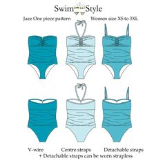 Our Jazz one piece pattern for Women  is styled to flatter!