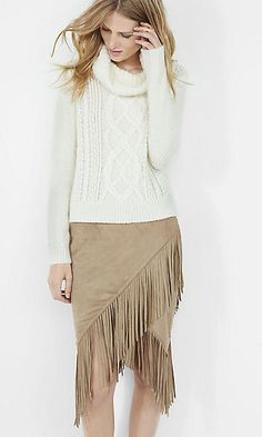 faux suede fringed wrap pencil skirt