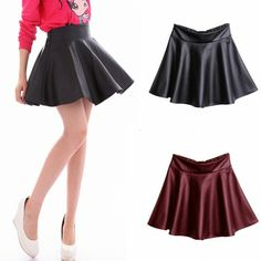 Fashion Women Girl PU Mini Skirt Flared Pleated Leather Short Skirt Red