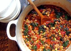 Turkey & Kale Chili (added two zucchini, carrots, celery, white beans, and an extra can of roma tomatoes). Delicious!