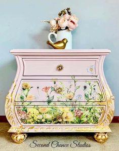 """Design team member of Second Chance Studios created this beautiful dresser. Here is a little of what she said - Kimberly - """"This is my piece for Pinktober! This is the specially designed transfer made by re Funky Furniture, Upcycled Furniture, Shabby Chic Furniture, Furniture Making, Furniture Makeover, Painted Furniture, Furniture Ideas, Dyi, Breast Cancer Awareness"""