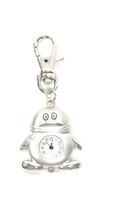 Silver Stainless PENGUIN Mini Clock Key Chain