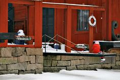 Red shore houses in Old Porvoo. Christmas Town, Finland, Red, Houses, Homes, House, Computer Case, Home