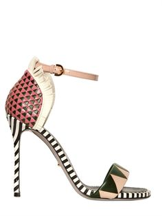 SERGIO ROSSI - 110MM OBEROJ WOVEN CALF FRINGED SANDALS - LUISAVIAROMA - LUXURY SHOPPING WORLDWIDE SHIPPING - FLORENCE