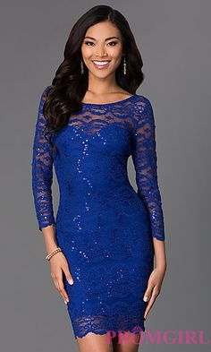 Short Lace Scoop Neck Dress with 3/4 Length Sleeves by Jump at PromGirl.com