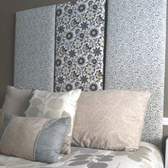 DYI headboard with closet doors cut to size, batten and fabric