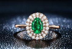 Emerald Ring Emerald Engagement Ring Halo Diamond by kilarjewelry